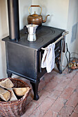 Wood fired stove in a kitchen, Klein Thurow, Roggendorf, Mecklenburg-Western Pomerania, Germany