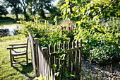 Garden and pond, Klein Thurow, Roggendorf, Mecklenburg-Western Pomerania, Germany
