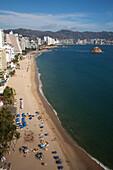 Overhead of high-rise hotels on El Morro beach, Acapulco, Guerrero, Mexico, Central America