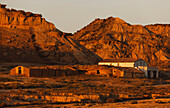 Buildings in the desert in the evening light, Bardenas Reales, UNESCO Biosphere Reserve, province of Navarra, Northern Spain, Spain, Europe