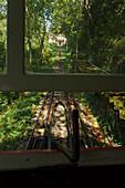View from cable car up to Monte Igeldo, San Sebastian, Donostia, Camino de la Costa, Camino del Norte, coastal route, Way of St. James, Camino de Santiago, pilgrims way, province of Guipuzcoa, Basque Country, Euskadi, Northern Spain, Spain, Europe