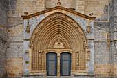 Main portal of Iglesia Parroquial de Santa Maria, church, Gernika-Lumo, Guernica, Camino de la Costa, Camino del Norte, coastal route, Way of St. James, Camino de Santiago, pilgrims way, province of Bizkaia, Basque Country, Euskadi, Northern Spain, Spain,