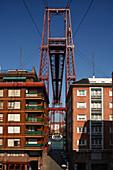 Puente Colgante, Puente Transbordador, Vizcaya Suspension Bridge, steel structure by Alberto de Palacio and Ferdinand Joseph Arnodin, Puente de Viskaya, 19th century, UNESCO World Heritage, Rio Nervion, Portugalete (l.) und Getxo (r.), Bilbao, Province Bi