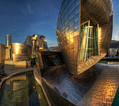 Guggenheim Museum of modern and contemporary art in the evening, Bilbao, Province of Biskaia, Basque Country, Euskadi, Northern Spain, Spain, Europe