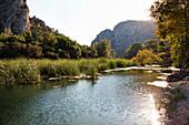 River flowing through ancient Olympos, lycian coast, Lycia, Mediterranean Sea, Turkey, Asia