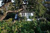 Old half timbered house with garden, Sieseby, Schlei, Schleswig-Holstein, Germany, Europe