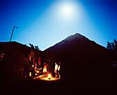 Casa Ramiro during full moon, underneath volcano Pico de Fogo, 2.829 m, Cha das Caldeiras, Island of Fogo, Ilhas do Sotavento, Republic of Cape Verde, Africa