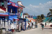 Island attire and beach wear for sale at a shop near the beach, Playa del Carmen, Riviera Maya, Quintana Roo, Mexico