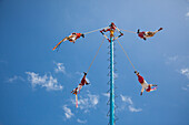 The Danza de los Voladores, Dance of the Flyers, or Palo Volador, Pole Flying, is an ancient Mesoamerican ceremony and ritual, Tulum, Riviera Maya, Quintana Roo, Mexico