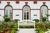 Garden bench at the Palmengarten, Frankfurt, Hesse, Germany, Europe