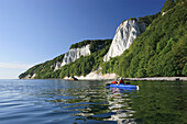 Kayaking in front of chalk cliffs, Koenigstuhl, Jasmund National Park, Baltic Sea Coast, Ruegen Island, Mecklenburg Vorpommern, Germany