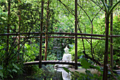 Bridge across a pond with Buddha statue at Andre Hellers' Garden, Giardino Botanico, Gardone Riviera, Lake Garda, Lombardy, Italy, Europe