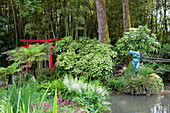 Chinese gate and Auguste Rodin sculpture at a pond at Andre Hellers' Garden, Giardino Botanico, Gardone Riviera, Lake Garda, Lombardy, Italy, Europe