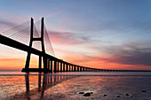 Vasco da Gama bridge at sunrise. Vasco da Gama bridge at sunrise