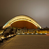 House of World Cultures. The House of World Cultures, or das Haus der Kulturen der Welt, is formerly known as the Kongresshalle conference hall which was designed in 1957 by Hugh Stubbins Jnr. It is the place for international contemporary arts