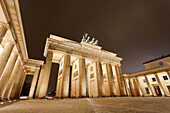 Brandenburg Gate. The Brandenburg Gate, or Brandenburger Tor, is situated at the west of Unter den Linden on Pariser Platz. It is a former city gate and now one of the most recognisable symbols of Berlin