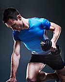 Man doing weights. Man doing weights