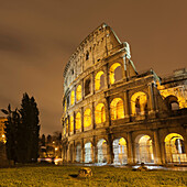 Roman Coliseum lit up at night. Colosseum or Coliseum, Italian: Colosseo, Rome Italy