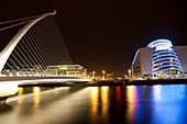 Modern architecture of theater in Dublin. Riverside architecture at night, Dublin, Ireland