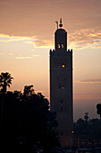 Silhouette of Koutoubia mosque. Koutoubia Mosque, Marrakech, Morocco
