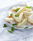 Bowl of lemoncello wedges on ice. LemonCelloWedges
