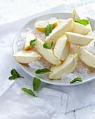 Bowl of lemoncello wedges on ice. LemonCelloWedges