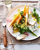 Plate of melon blue cheese salad. MelonBlueCheeseSalad