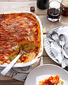 Dish of polenta cheese casserole. BakedPolenta4Cheese