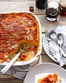 Dish of polenta cheese casserole. BakedPolenta4Cheese
