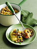 Bowl of chickpea and vegetable stew. VegeStewChickpeas