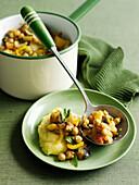 Bowl of chickpea and vegetable stew. VegeStewChickpeas