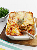 Close up of dish of lasagna