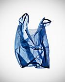 Crumpled blue plastic bag on table. Still Life, Plastic Bag,Plastic,Blue, see through,Graphic,Shadows, Art,Photo,Design