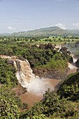 The waterfalls of the Blue Nile called Tis Isat in Ethiopia towards the end of the rainy season  Around rainy season Tis Isat translated water that smokes are considered to be the second largest waterfalls in Africa  A bit after Lake Tana the blue nile po