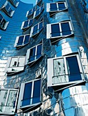 Detail of the Neuer Zollhof building at the Medienhafen, Dusseldorf, Germany Architect Frank Gehry