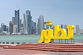 View from Corniche to office towers in business district in Doha Qatar