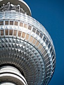 Detail of the TV television tower of Fernsehturm in Alexanderplatz Mitte District Berlin