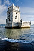 Torre de Belem  Rennaissance style archways  Built in the 16th century in order to defend the Tagus river mouth  Belem, Lisbon, Portugal