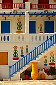 House decorated with traditional folk art  Mykonos, Cyclades Islands, Greece