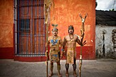 Mayan ball players pose for a portrait in Chapab village in Yucatan state in Mexico´s Yucatan peninsula, Mexico, June 13, 2009