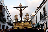 A statue of the Cristo de la Buena Muerte, or Christ of Good Death, is carried during a procession for Easter Holy Week celebrations in Prado del Rey village, Cadiz province, Andalusia, Spain, April 1, 2010