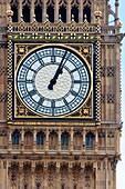 Big Ben clock face up close, London, UK