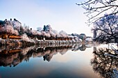 A still frosty river Severn at Worcester, England