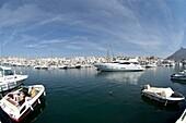 Boats moored in Puerto Banus Marina, Andalucia, Costa Del Sol, Spain, Europe
