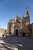 Overview of the Plaza de Santa Maria, with the Royal Collegiate of Santa Maria Maggiore and the statue of Pedro Espinosa, Antequera, Andalusia, Spain