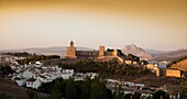 Panoramic view of the sunset of Antequera, notably ´La Alcazaba and the Peña de los Enamorados the background, Antequera, Andalusia, Spain