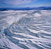 Hyaloclastite Formation on Hagafellsjokull Glacier Hyaloclastite formation, melting caused by volcanic activity or heat from below, at Hagafellsjokull Glacier on the Langjokull Ice Cap, Iceland