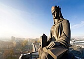 Statue of St Barbara at the roof of the Academy of Mines and Metallurgy Building, AGH, Krakow, Poland