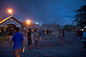 Market in Rabaul in the evening, Tavurvur Volcano, Rabaul, East New Britain, Papua New Guinea, Pacific