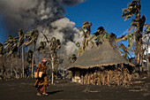 Daily life on Matupit Island has become very difficult due to constant ash fall, Tavurvur Volcano, Rabaul, East New Britain, Papua New Guinea, Pacific
